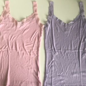 GAP Pastel Cotton Tank Tops with Lace Detail